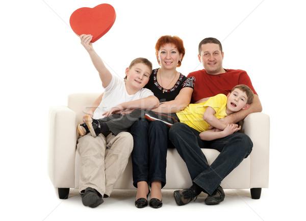 家族 4 ソファ ソファ 手 赤 ストックフォト © RuslanOmega