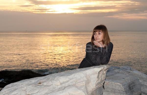 girl against the sea at night Stock photo © RuslanOmega
