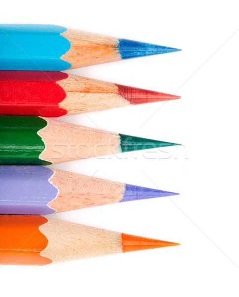 Cinque colorato matita line bianco carta Foto d'archivio © RuslanOmega