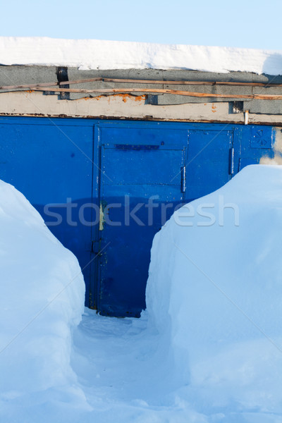 Snow subway to blue winch Stock photo © RuslanOmega