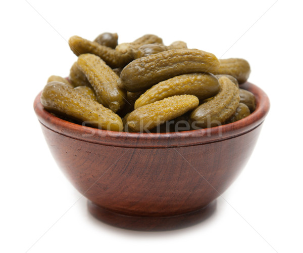 Wooden cup with salty cucumber Stock photo © RuslanOmega