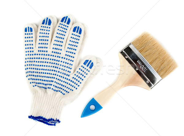 Dos manos pintura algodón guantes azul Foto stock © RuslanOmega