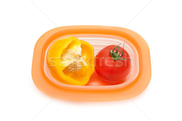 Cut wanted pepper and red tomato Stock photo © RuslanOmega