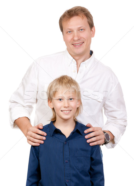 Portrait of father and son in the studio Stock photo © RuslanOmega