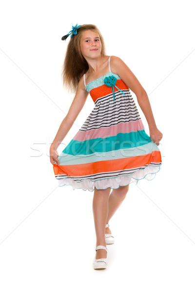 Dança menina vestir estúdio 11 anos colorido Foto stock © RuslanOmega