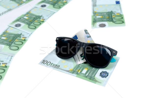 Bankbiljetten 100 euro zonnebril witte Stockfoto © RuslanOmega