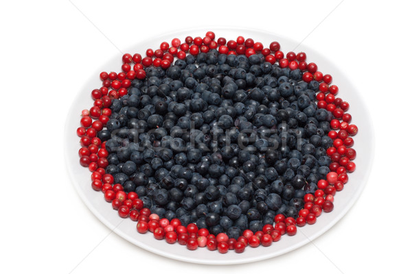 Stock photo: Berries of the whortleberry and cowberries