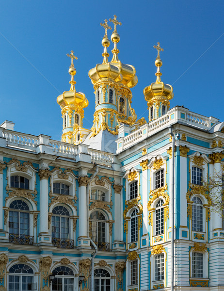 golden domes with crosses of catherine's palace in tsarkoie selo Stock photo © RuslanOmega