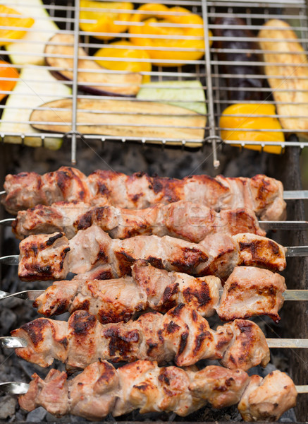 delicious skewers of meat and vegetables Stock photo © RuslanOmega