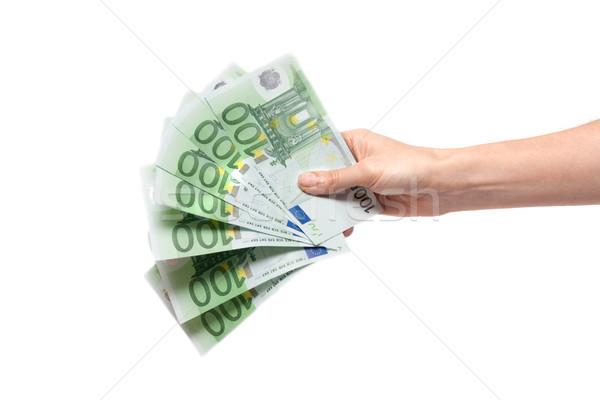 One hundred euro in feminine hand Stock photo © RuslanOmega