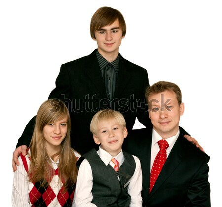 Stock photo: Father and three children