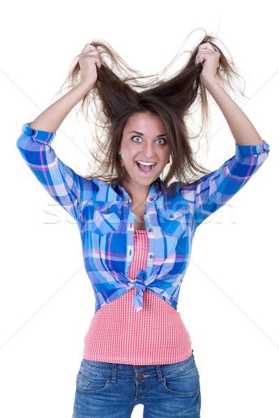 happy crazy excited woman Stock photo © RuslanOmega