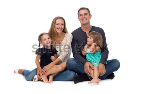Família feliz pai mãe crianças branco mão Foto stock © RuslanOmega