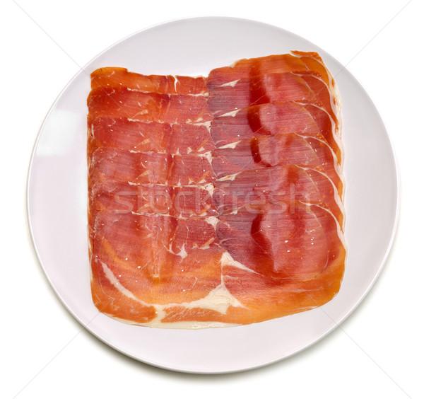 Fatias prato branco fundo carne Foto stock © RuslanOmega