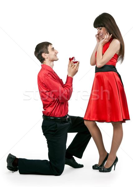 Foto stock: Homem · mulher · anel · mão · casamento · mulheres