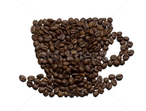 Silhueta copo pires frito grãos de café Foto stock © RuslanOmega