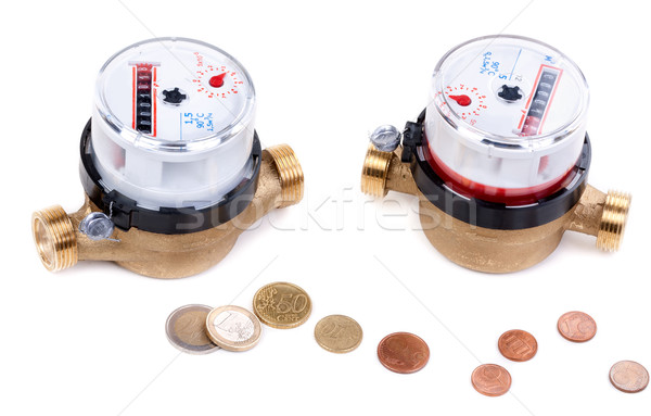 Concept, a symbol of savings, two meters of water and euro cents Stock photo © RuslanOmega
