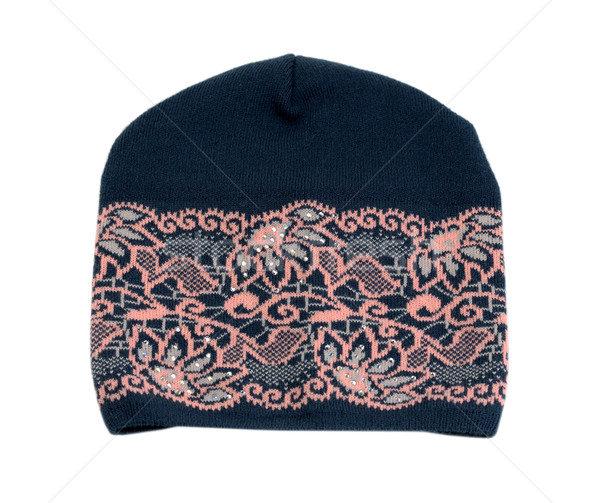 Dark knitted hat with a pink pattern. Stock photo © RuslanOmega