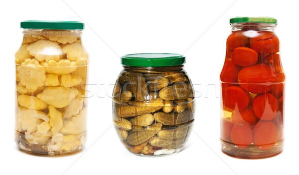 three jars of pickled vegetables Stock photo © RuslanOmega
