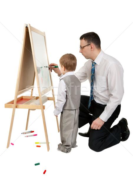 Biznesmen syn farby sztaluga biały Zdjęcia stock © RuslanOmega