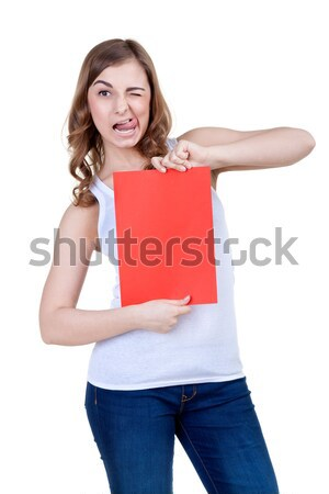 Beautiful girl with a red sheet of paper winks Stock photo © RuslanOmega