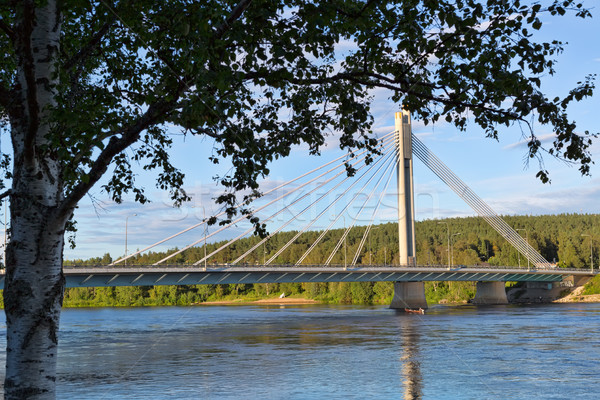 Bridge in Rovaniemi, day, summer, blue sky and clouds Stock photo © RuslanOmega