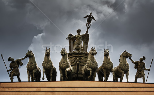 The sculpture of horses on the triumphal arch of St. Petersburg Stock photo © RuslanOmega