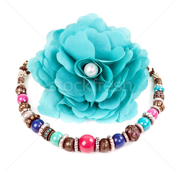 turquoise fabric flower and color bracelet Stock photo © RuslanOmega