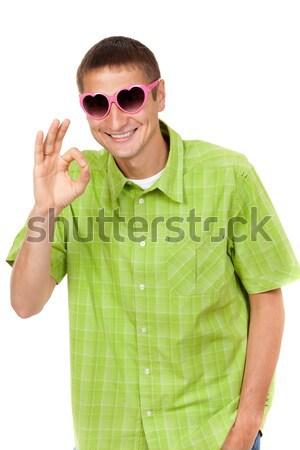 Vrolijk portret jonge man belachelijk roze zonnebril Stockfoto © RuslanOmega