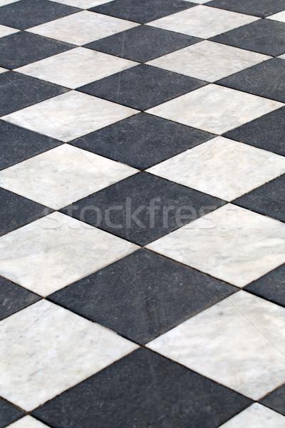 Marbre étage distance blanc noir à carreaux Photo stock © RuslanOmega
