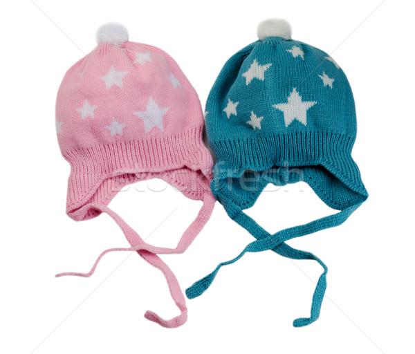 Foto stock: Dos · de · punto · sombrero · estrellas · blanco
