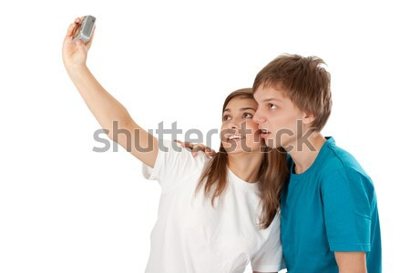 boy and girl pictures of himself Stock photo © RuslanOmega