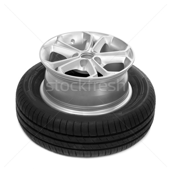 Stock photo: Wheel and tire for a car.