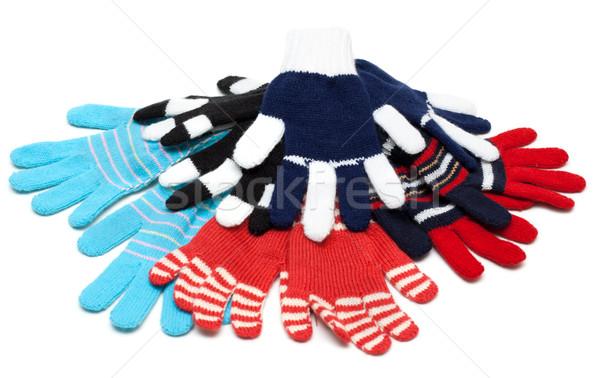 ストックフォト: 縞模様の · 赤 · 手袋 · 白 · ファッション · 子供