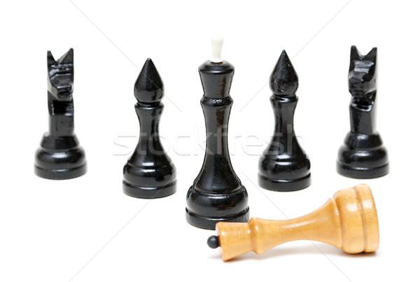 Sakk fekete vesztes fényes király izolált Stock fotó © RuslanOmega