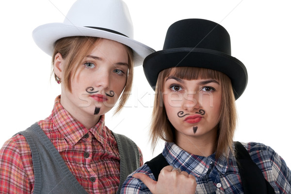 Two girls with painted mustaches Stock photo © RuslanOmega