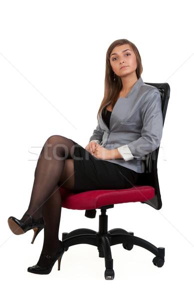 ストックフォト: ビジネス女性 · 座って · 椅子 · 孤立した · 白 · オフィス