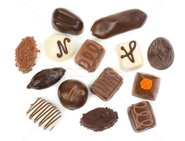 Stock fotó: Csokoládé · szett · cukorkák · izolált · fehér · étel
