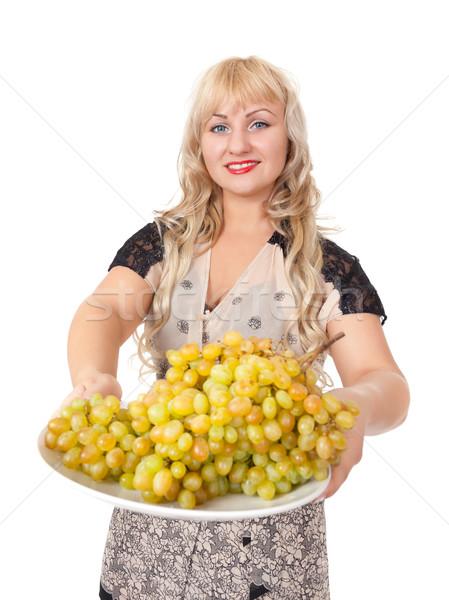 Zdjęcia stock: Portret · atrakcyjny · młoda · kobieta · puchar · winogron