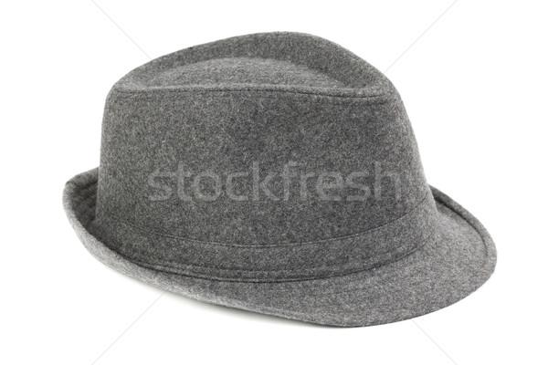 Elegancki szary fedora hat biały Zdjęcia stock © RuslanOmega