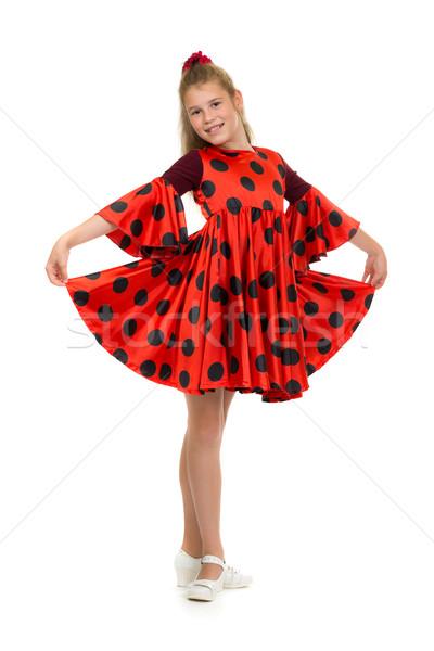 Tinilány vörös ruha pöttyös izolált fehér nő Stock fotó © RuslanOmega