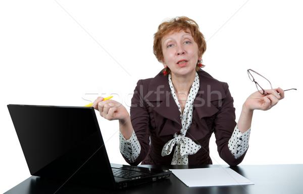middle-aged woman at a computer Stock photo © RuslanOmega