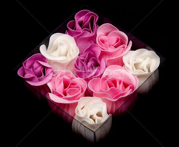Fabrics rose in transparent box Stock photo © RuslanOmega