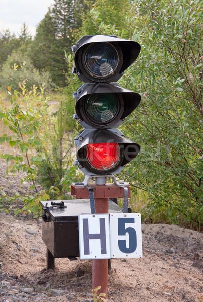 ストックフォト: 信号 · 赤 · 信号 · 鉄道 · 鉄道駅 · 赤信号