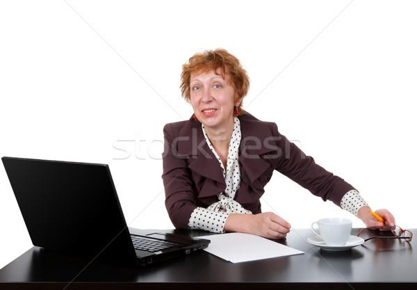 женщину таблице ноутбука студию белый Сток-фото © RuslanOmega