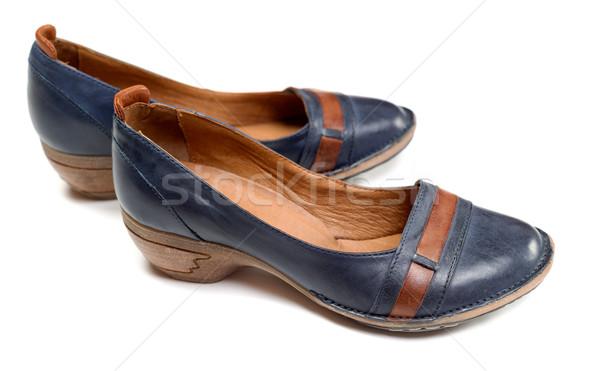 Stockfoto: Paar · leder · schoenen · Blauw · geïsoleerd · witte