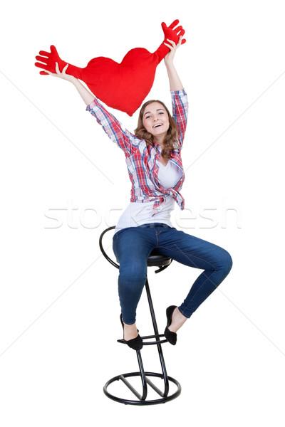 Belle fille rouge peluche coeur blanche Photo stock © RuslanOmega