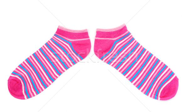 A rayas calcetines aislado blanco par rosa Foto stock © RuslanOmega