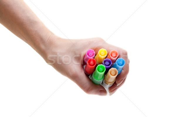 Soft-tip pens in feminine hand Stock photo © RuslanOmega