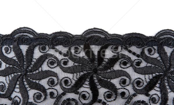 Foto stock: Preto · renda · textura · fundo · tecido